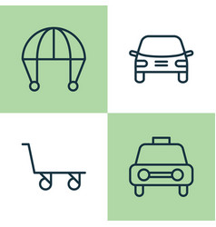 Transport icons set collection of skydive taxi vector