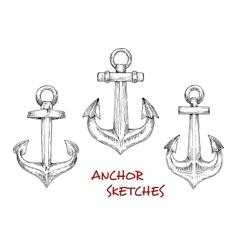 Vintage heraldic nautical anchors sketches vector image vector image