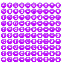 100 mushrooms icons set purple vector