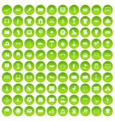 100 playground icons set green vector