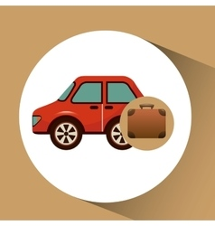 Suitcase vintage and car vehicle symbol travel vector