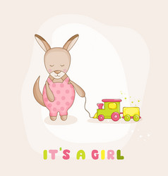 Baby kangaroo with a train - baby shower card vector