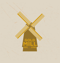 vintage emblem of a handmade mill in retro style vector image