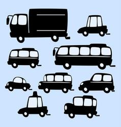 cartoon truck bus car silhouette template vector image