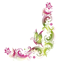 Green pink summer flower vector
