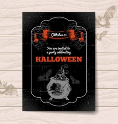 Vintage hand drawn Halloween invitation vector image