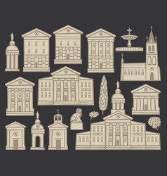 Set of drawings of houses and churches in cities vector