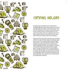 hand drawn decoration with camping holiday vector image