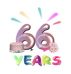 66 years anniversary celebration greeting card vector