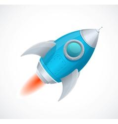 Comic cartoon rocket space ship blue vector