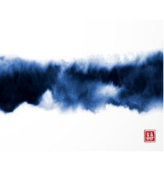 abstract blue ink wash painting in east asian vector image