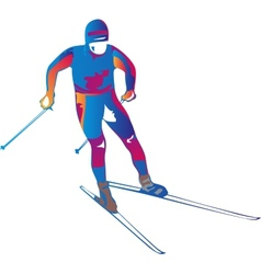 A colorful skier vector