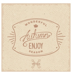 Vintage hipster autumn label vector image