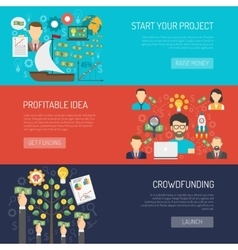 Crowdfunding banner set vector