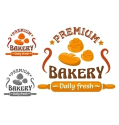 Bakery shop sign with buns and rolling pin vector
