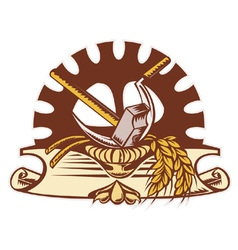 Hammer sickle wheat cog gear vector