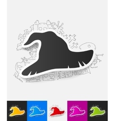 Witch hat paper sticker with hand drawn elements vector