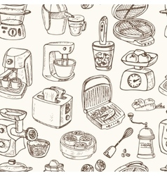 Home appliances themed doodle seamless pattern vector