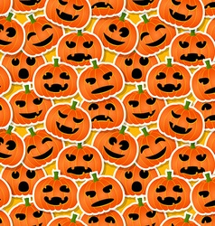 Halloween pumpkins - seamless pattern vector