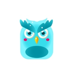 Blue owl chick square icon vector