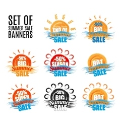 Hot big season summer sale stickers or banners set vector