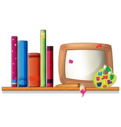 A wooden shelf with books and a board vector