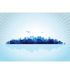 blue cityscape vector image vector image