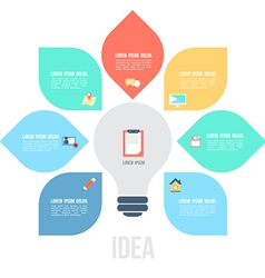 Bulb left idea template with flat icons vector