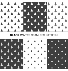 Collection of seamless pattern with trees vector