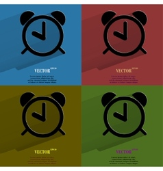 Color set alarm clock Flat modern web button with vector image