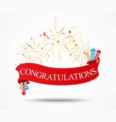 Congratulations design with fireworks and ribbon vector