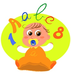 cute baby with letters vector image vector image