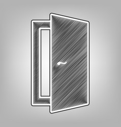 Door sign pencil sketch vector