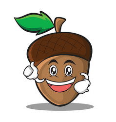 enthusiastic acorn cartoon character style vector image