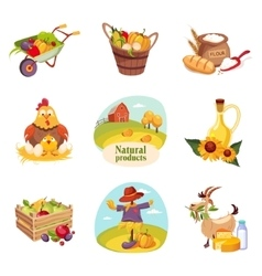 Farm products and animals set of bright stickers vector