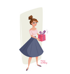 funny cartoon woman with gifts in hands vector image vector image