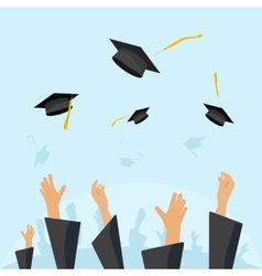 Graduating students pupil hands gown throwing caps vector image