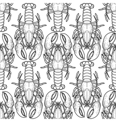 Graphic lobster pattern vector image vector image