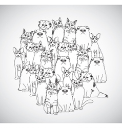 Group cats black and white isolate on white vector