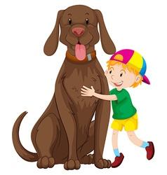 Little boy and big dog vector image