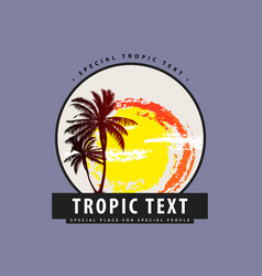 Logo with palm trees and sunset vector