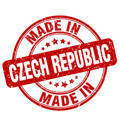 Made in czech republic red grunge round stamp vector