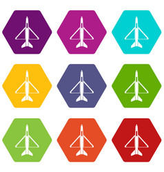 military aircraft icon set color hexahedron vector image