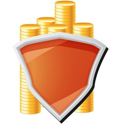 money icon with shield and coins vector image vector image