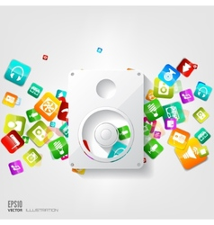 Music loudspeaker subwoofer icon application vector