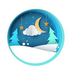 Paper night fir moon cloud snow vector