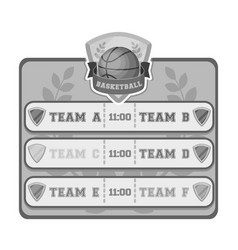 placard on the basketball courtbasketball single vector image vector image