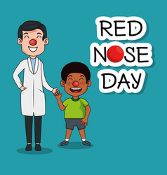 Red nose day people with red nose vector