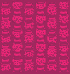 red pink seamless pattern with the strawberry jam vector image