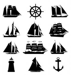 sailing design elements vector image vector image